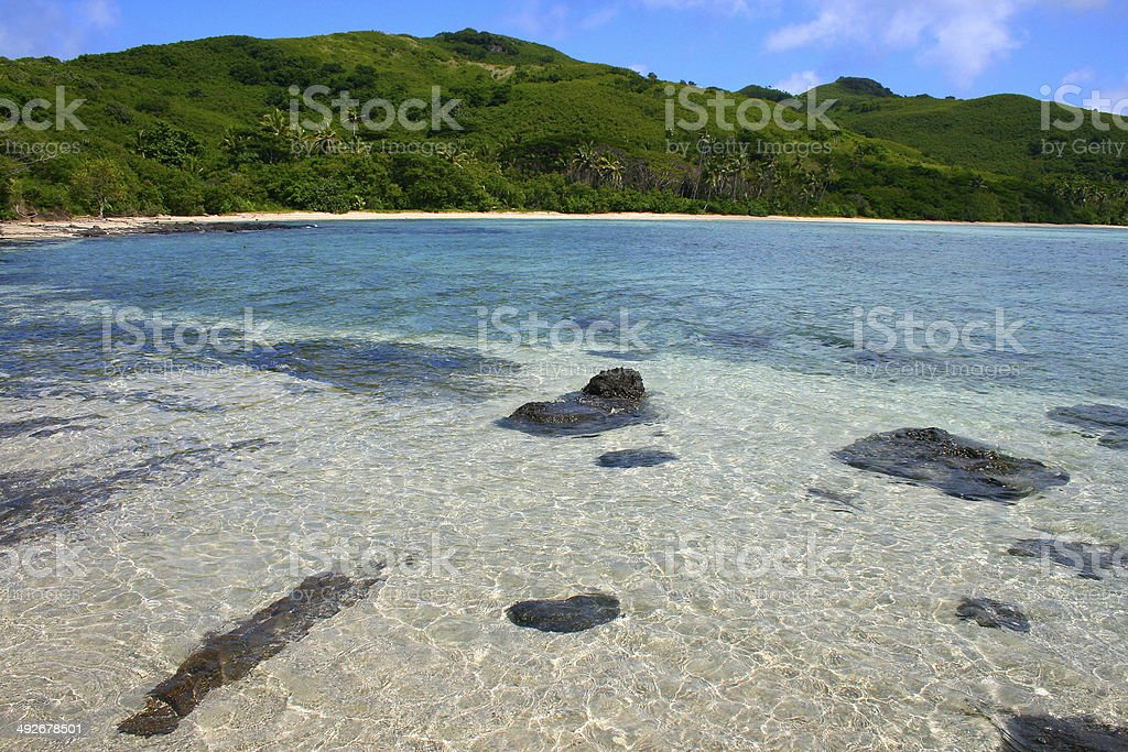 Paradise tropical deserted beach in Fiji Islands, Pacific stock photo