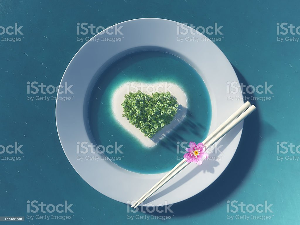 Paradise tropical island in the form of heart royalty-free stock photo