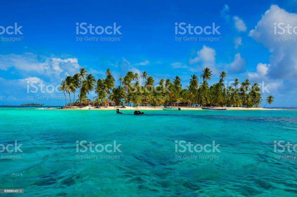 Paradise Tropical Island - San Blas archipelago in Panama stock photo