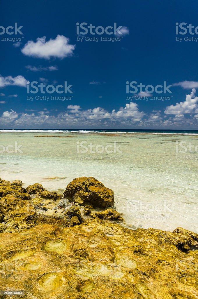 Paradise view of Rangiroa atoll, French Polynesia stock photo