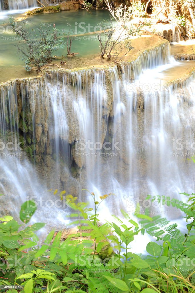 Paradise Waterfall located in deep forest of Thailand. stock photo