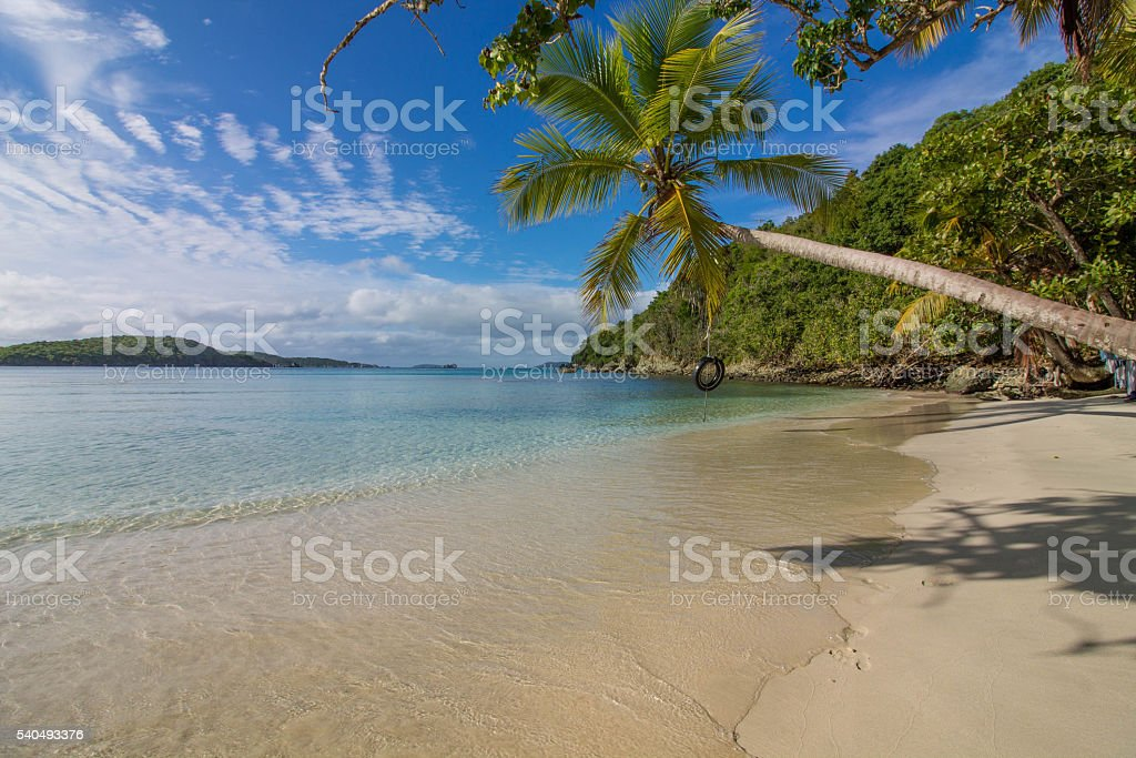 Paradisiac tire swing on beach stock photo