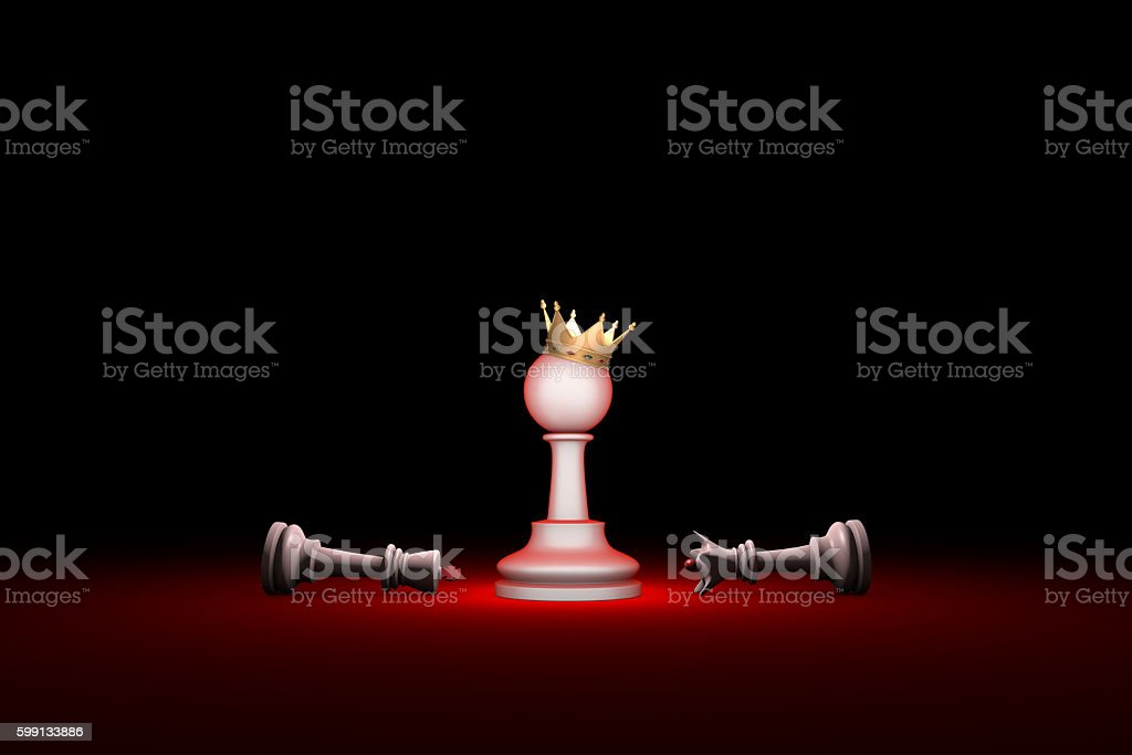 Paradox. Strength and weakness (chess metaphor). stock photo