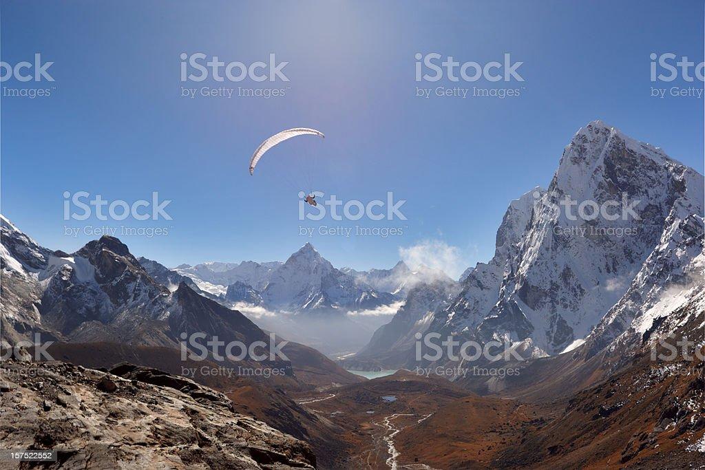 Paraglaider. Everest Circuit. Nepal motives. stock photo