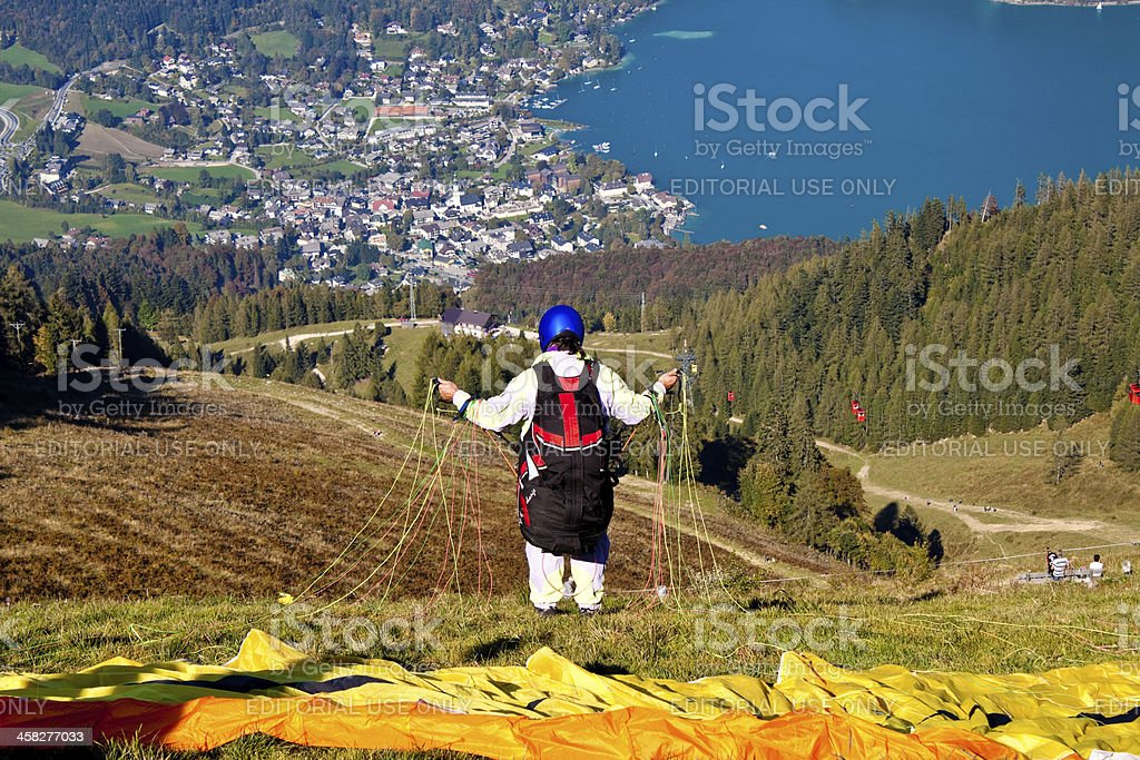 paraglider in alps stock photo