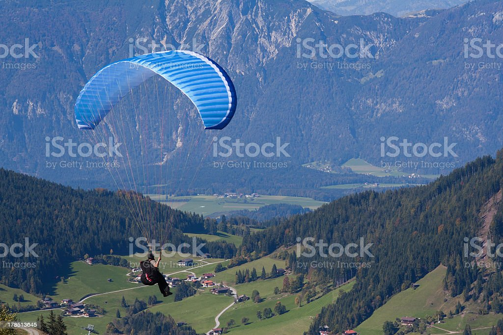 Paraglider in Austrian mountain stock photo