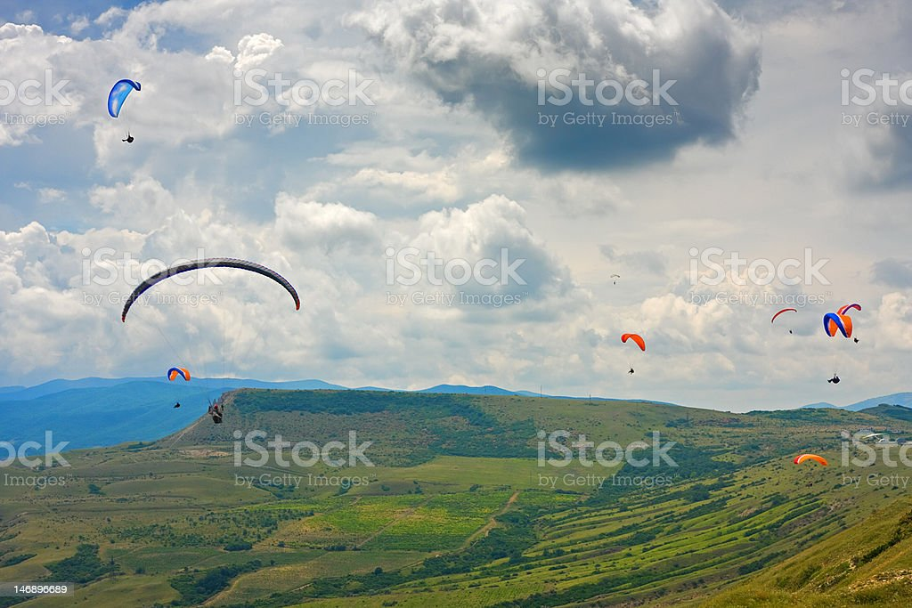 paraglider in the sky royalty-free stock photo
