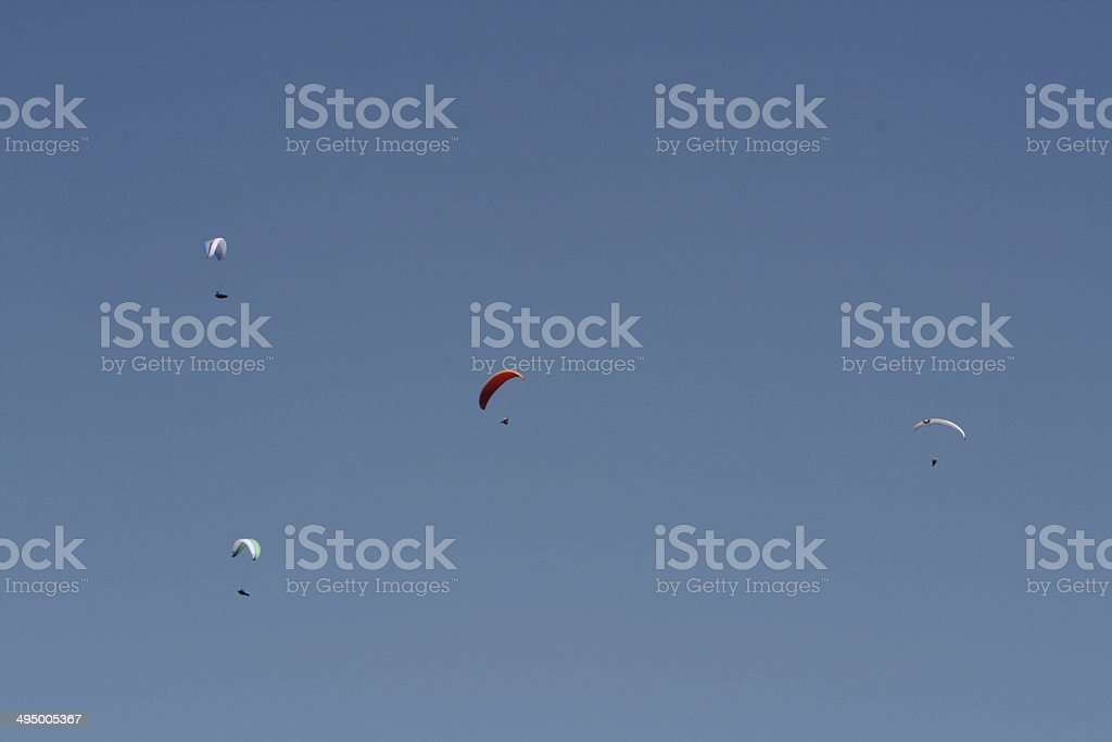 paraglider in the sky stock photo
