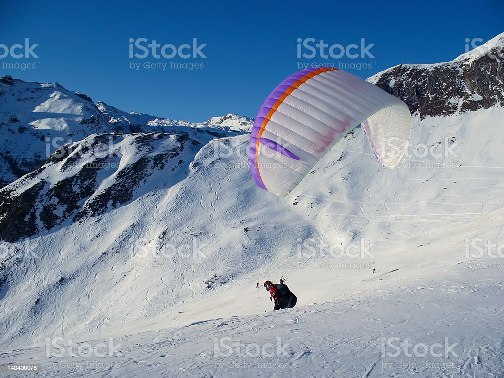 Paraglider in the Swiss Alps royalty-free stock photo
