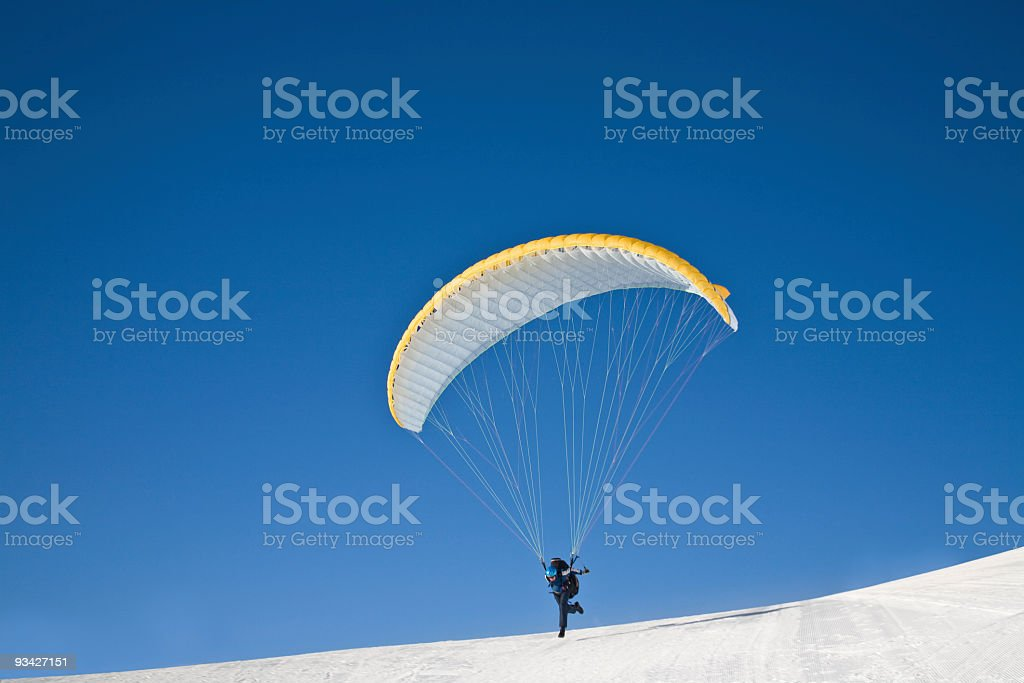 paraglider launching royalty-free stock photo
