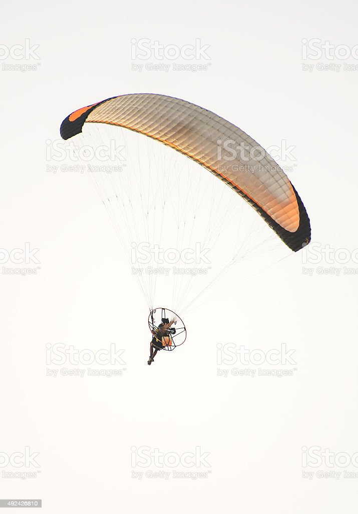 Paraglider on the sky. stock photo