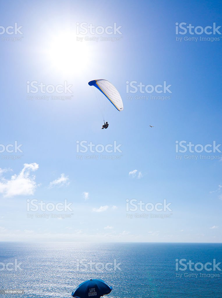 Paraglider over San Diego stock photo
