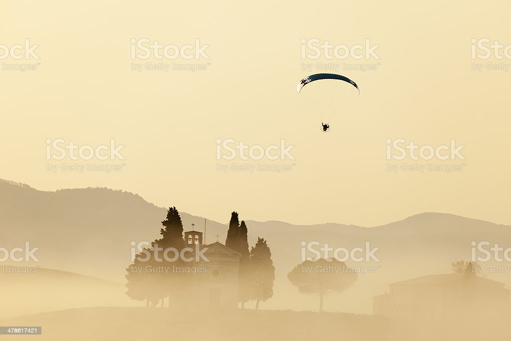 Paraglider Over Tuscany royalty-free stock photo