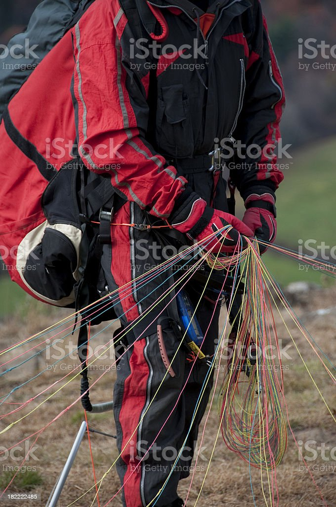 Paraglider preparing to Launch royalty-free stock photo