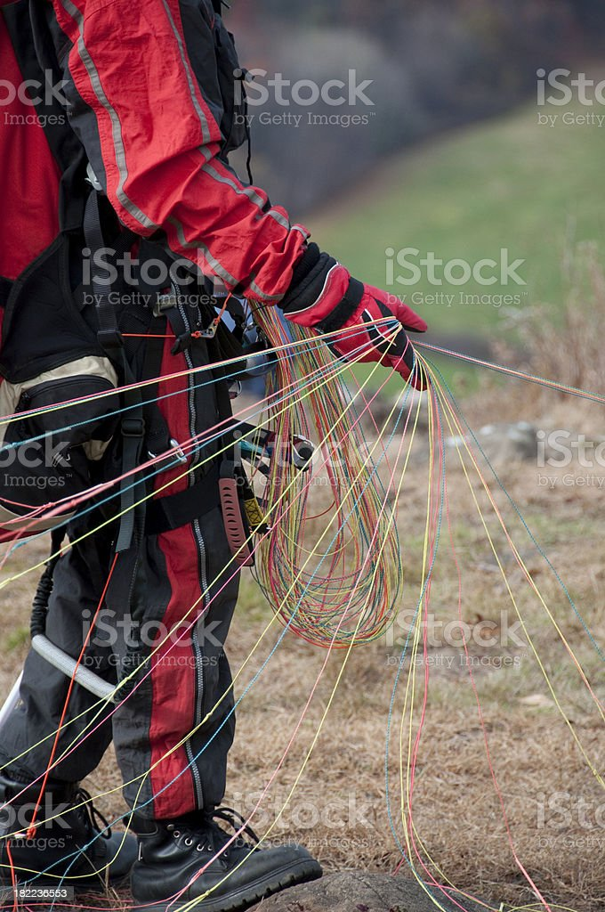 Paraglider preparing to Launch stock photo