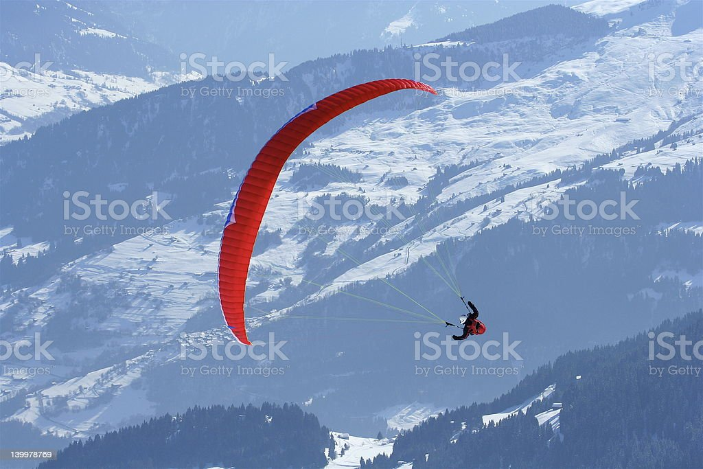 Paraglider sport being practiced stock photo