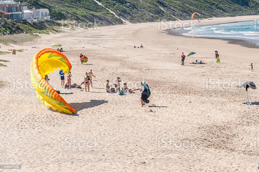 Paraglider trying to get airborne stock photo
