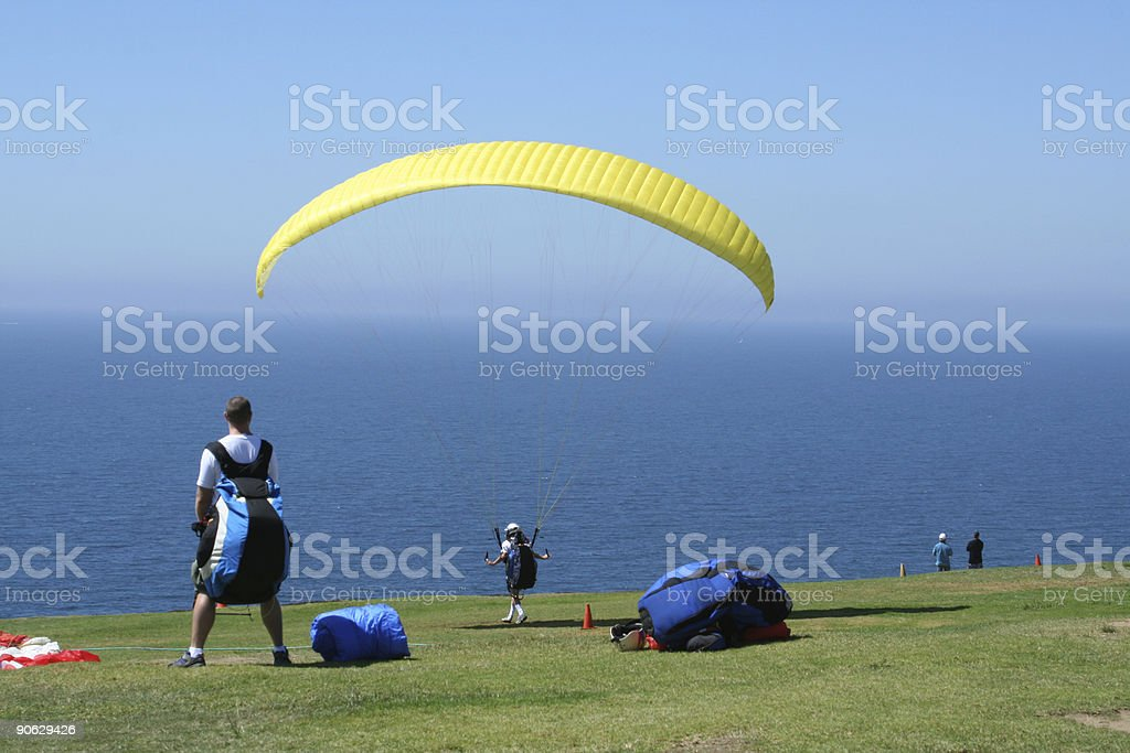 Paraglider Waiting stock photo