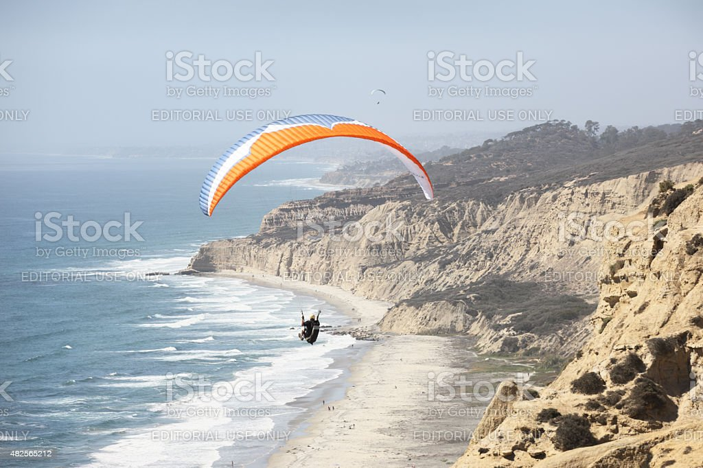 Paraglider Wing Ocean Flight stock photo