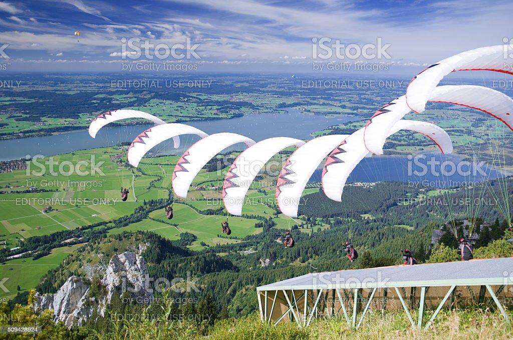 Paraglider_Sequenz_white stock photo