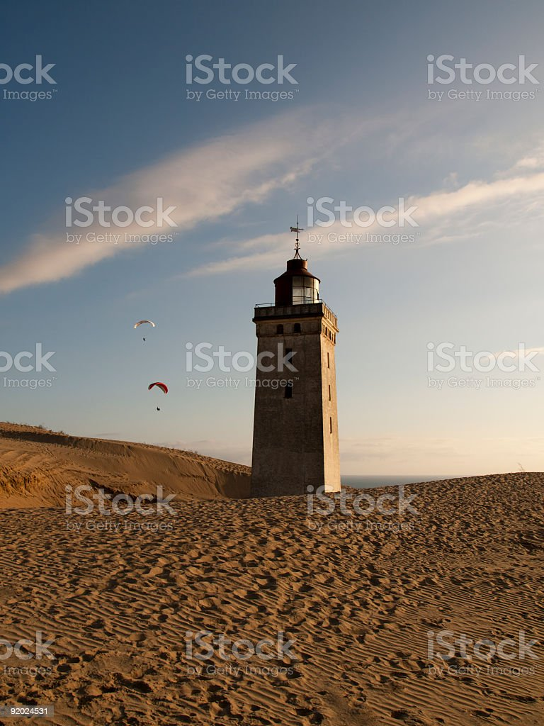 Paragliders at Rubjerg Knude lighthouse stock photo