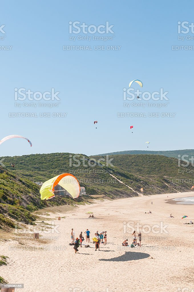 Paragliders in the air stock photo