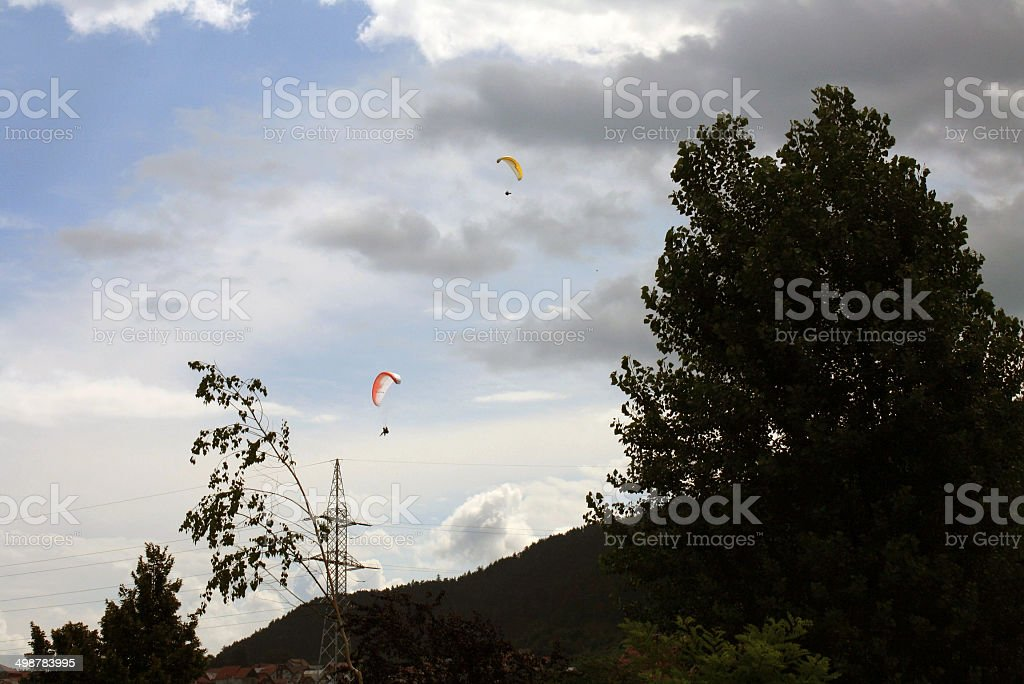 Paragliders near Piatra Mare Peak stock photo