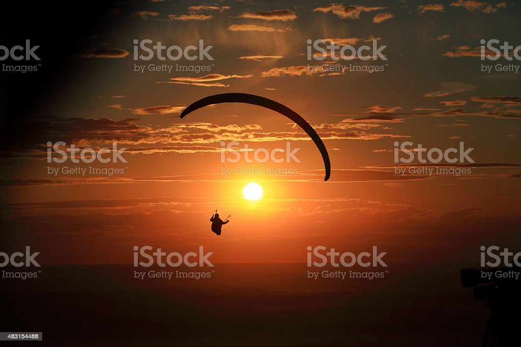Paragliding above the Palouse stock photo