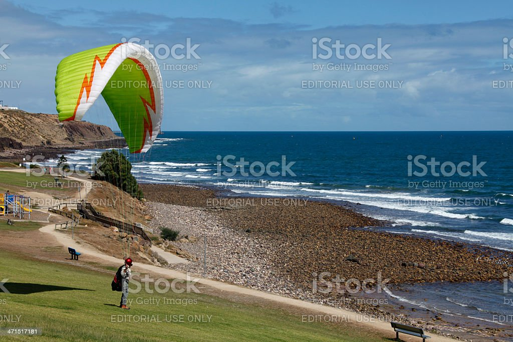 Paragliding at Beach stock photo