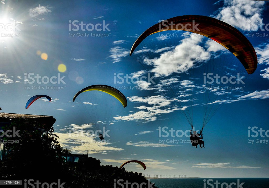 Paragliding from the Sun stock photo