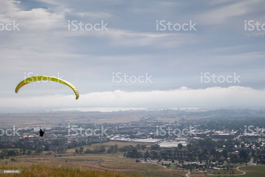 Paragliding in Boulder stock photo