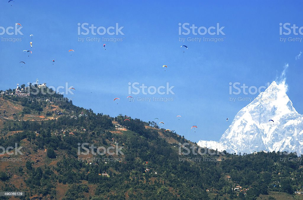 Paragliding in Pokhara stock photo