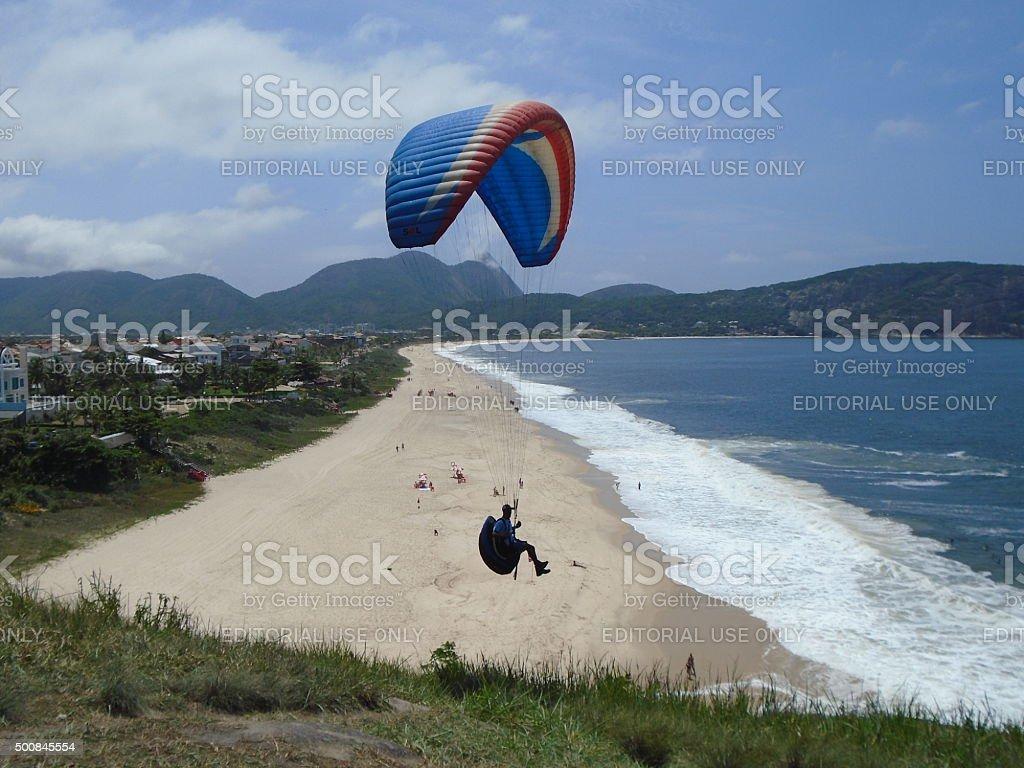 Paragliding in Rio de Janeiro Brazil stock photo
