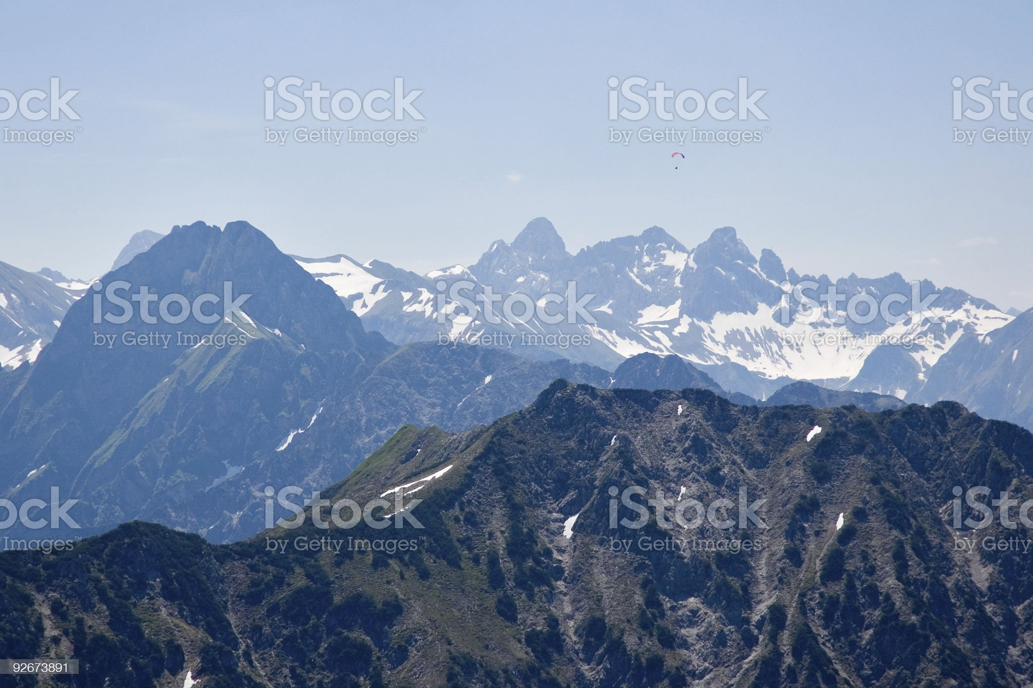 Paragliding in the Alps royalty-free stock photo