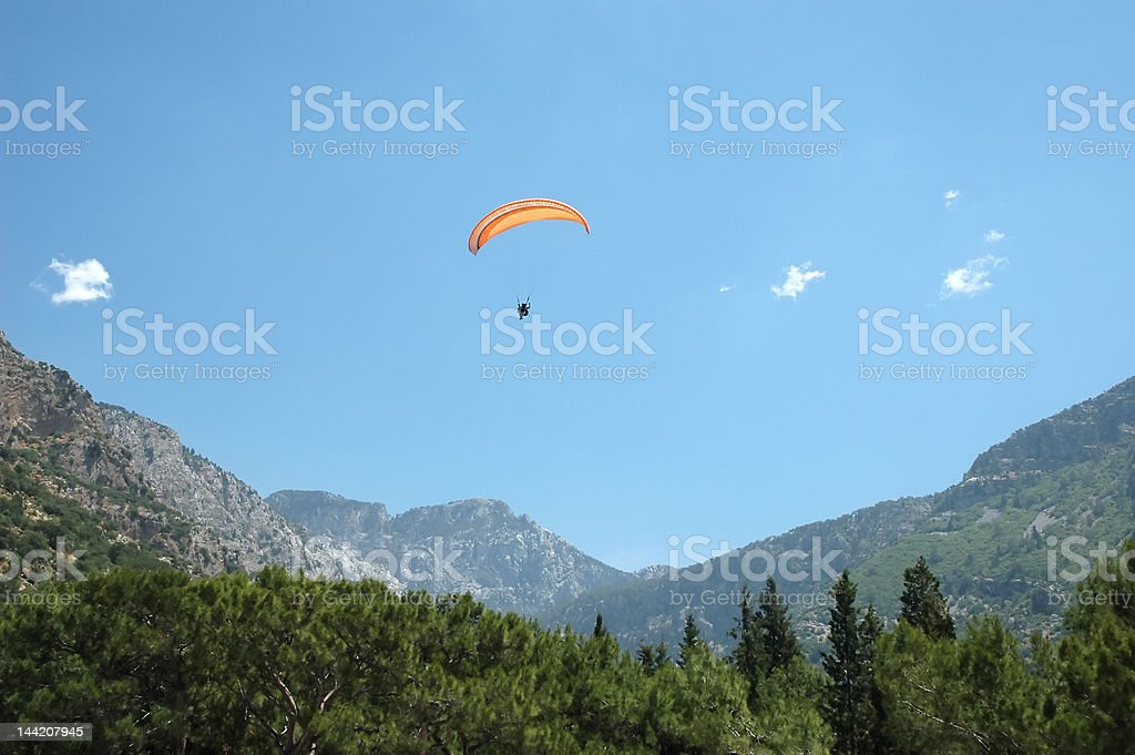 Paragliding in the mountain stock photo