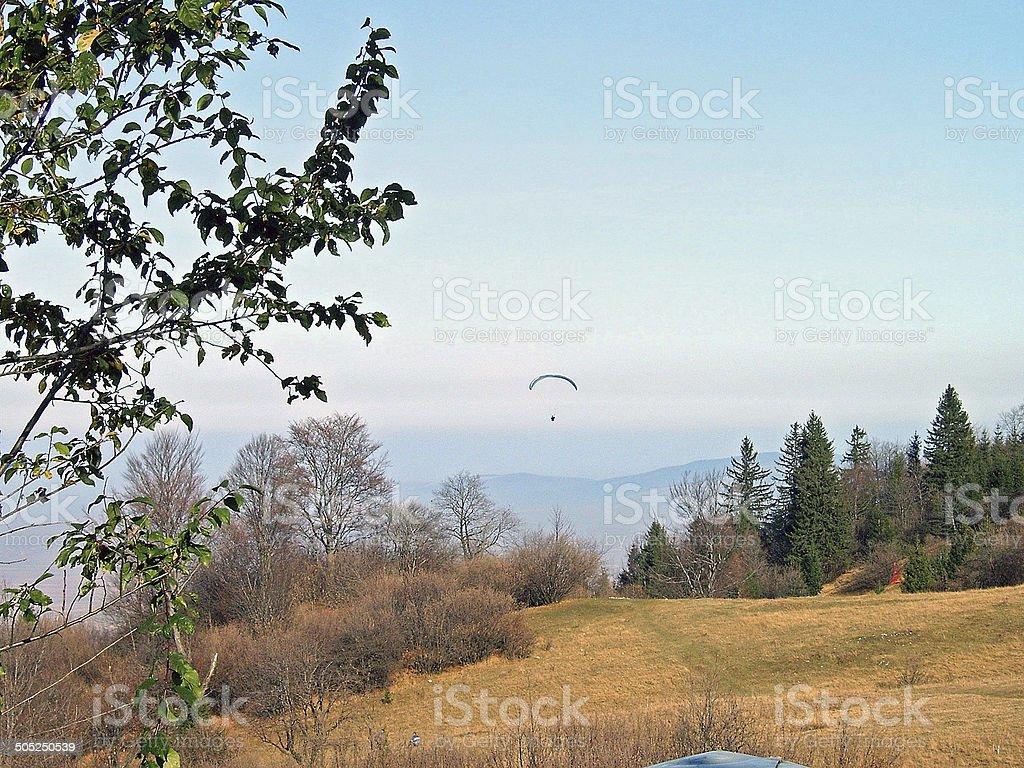 Paragliding near Bunloc Hill, Brasov stock photo