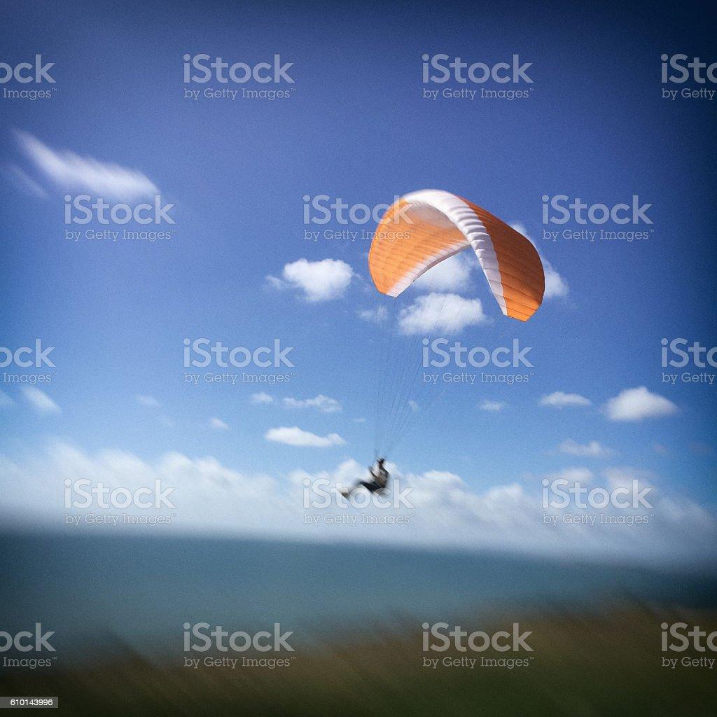 Paragliding off Sea Cliffs stock photo