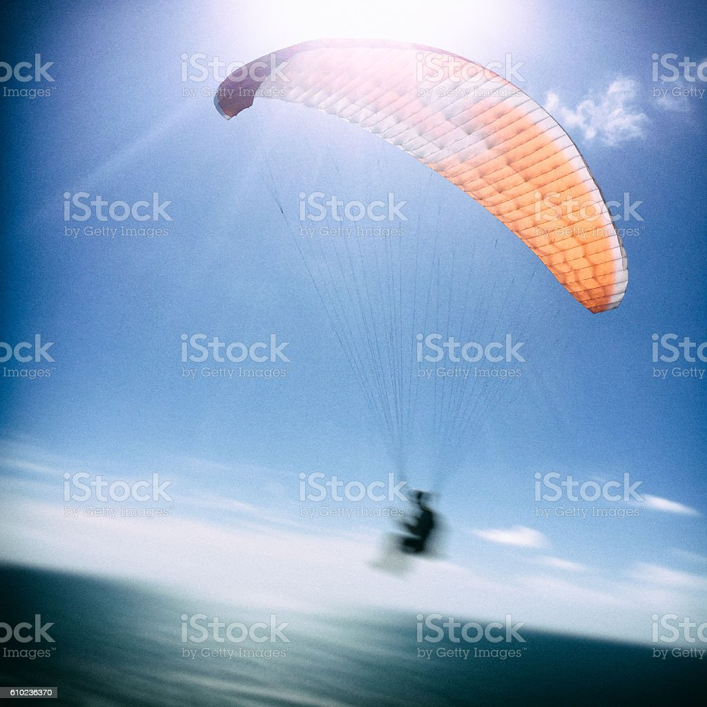 Paragliding off Sea Cliffs stock photo
