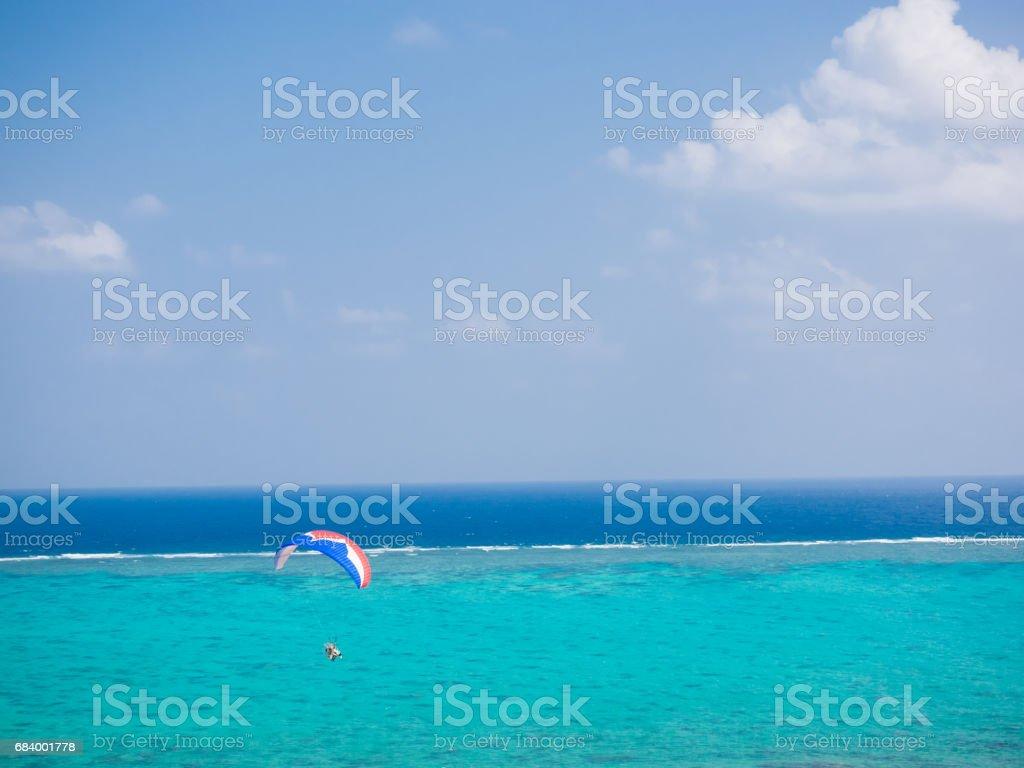 Paragliding on Ishigaki island stock photo
