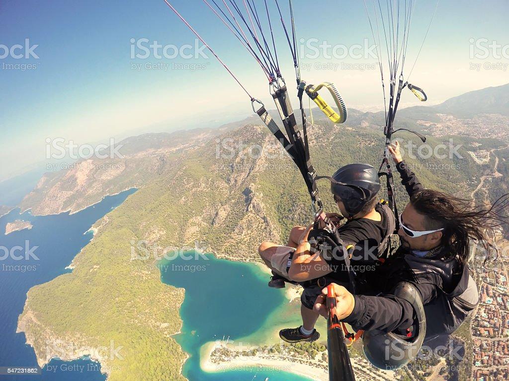 Paragliding on Oludeniz Fethiye Turkey stock photo