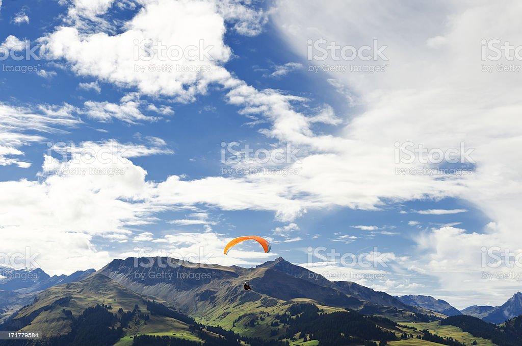 Paragliding on Swiss Alps Switzerland royalty-free stock photo