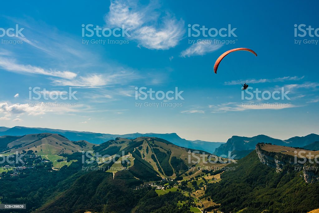 Paragliding on the sky stock photo