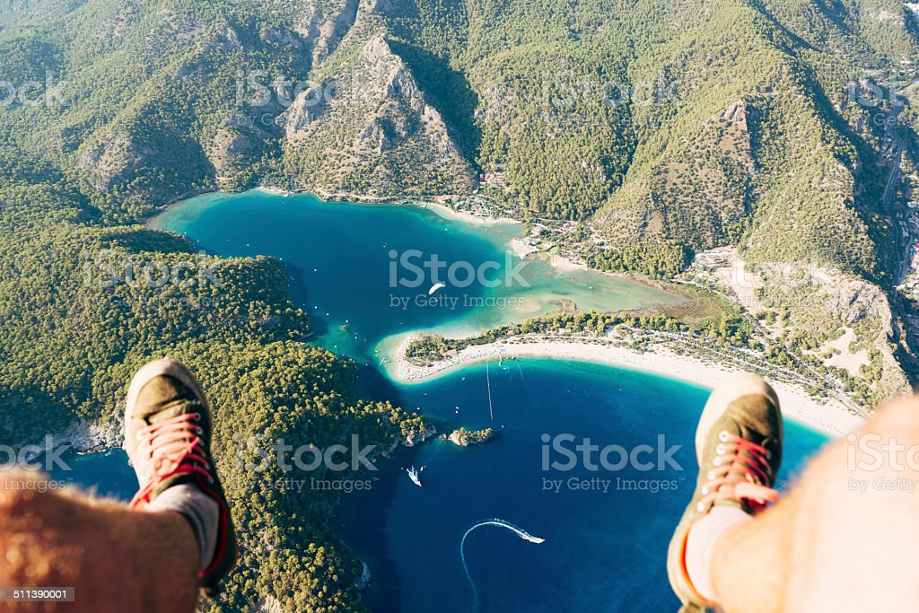 Paragliding over Oludeniz Blue Lagoon stock photo
