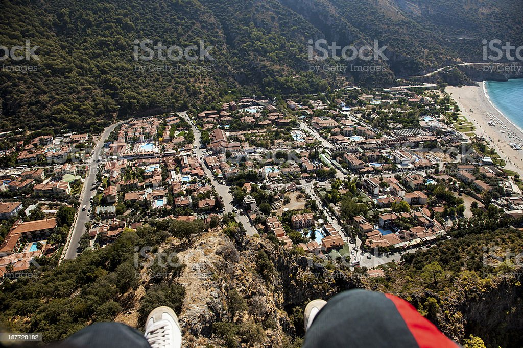 Paragliding over Oludeniz royalty-free stock photo