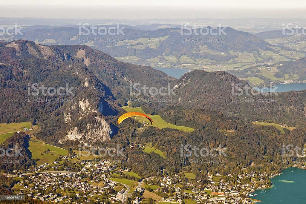 Paragliding over St. Gilgen and mountains stock photo