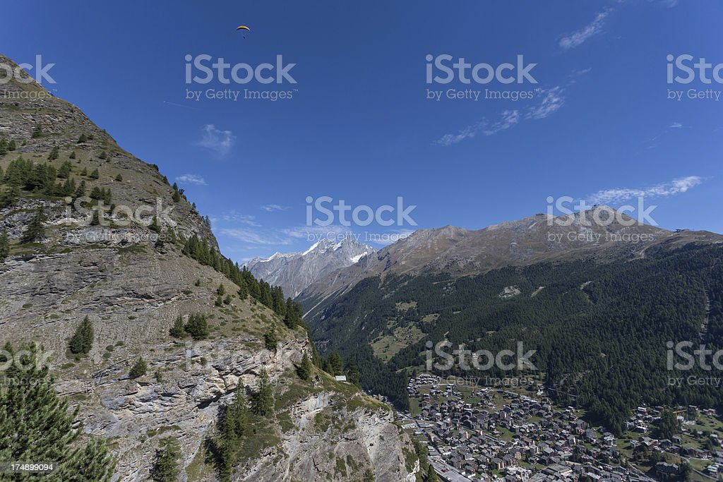 Paragliding over the Swiss Alps at Zermatt royalty-free stock photo