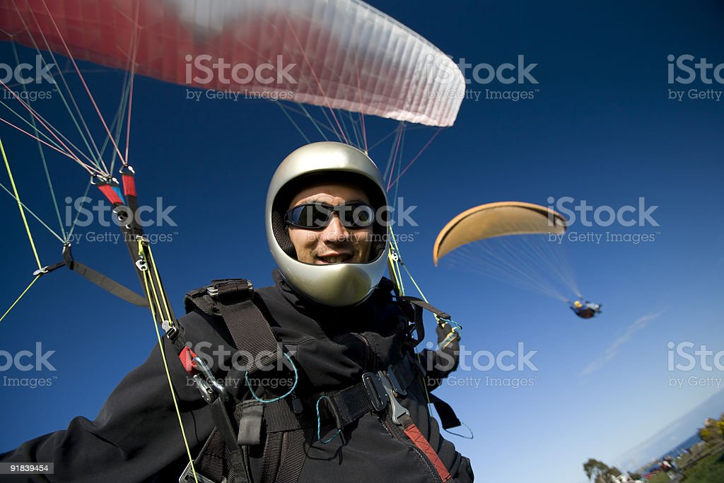 Paragliding Pilot stock photo