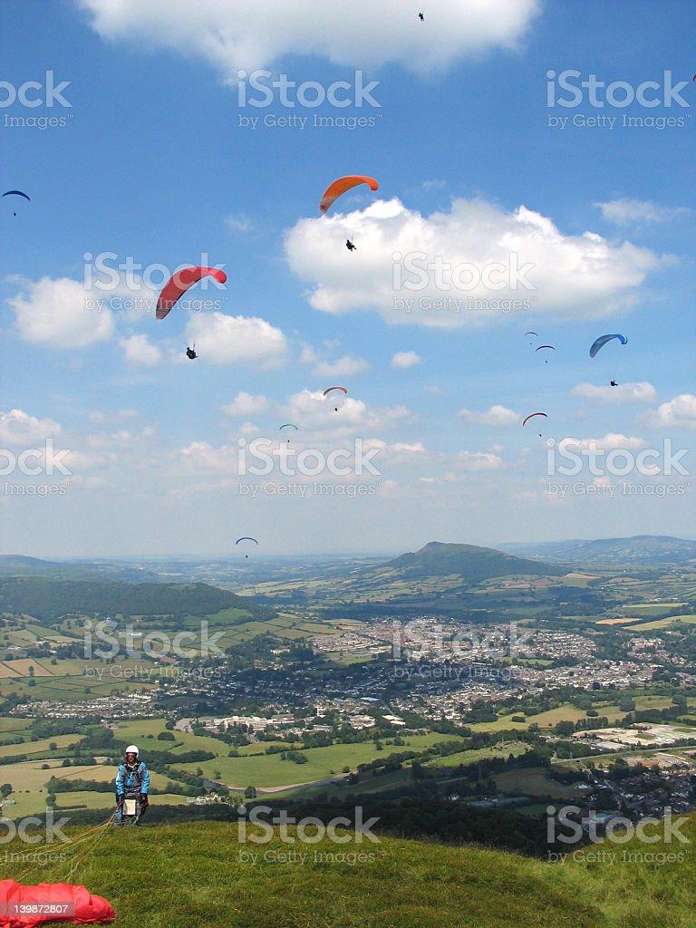 Paragliding, Wales, U.K. stock photo