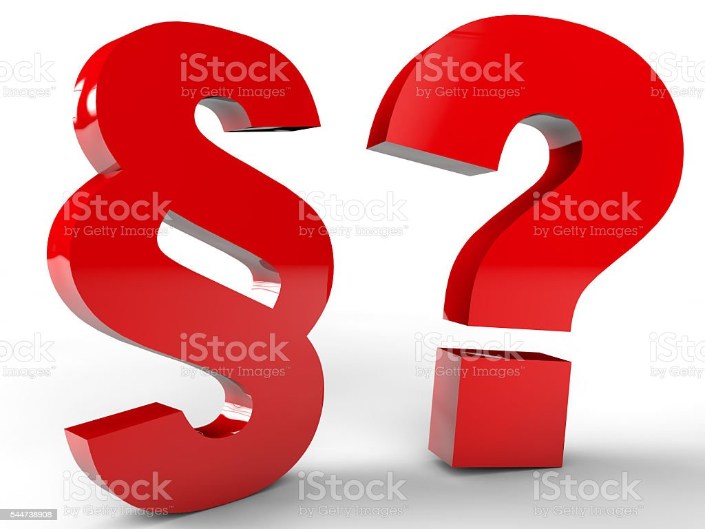 Paragraph and question mark stock photo