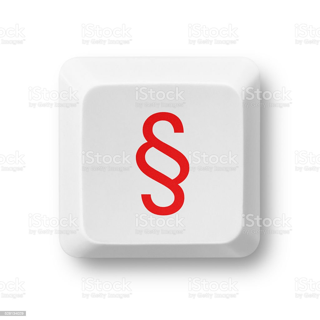 Paragraph symbol on a computer key isolated on white stock photo